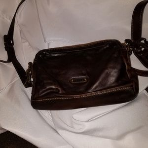 FRYE SMALL STACY BROWN LEATHER 2 PKT CROSSBODY